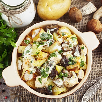 Stewed Vegetables with Mushrooms in Sour Cream Sauce