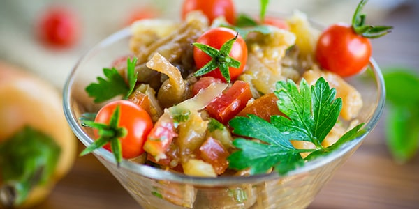 AUBERGINE PEPPER SALAD WITH BALSAMIC DRESSING